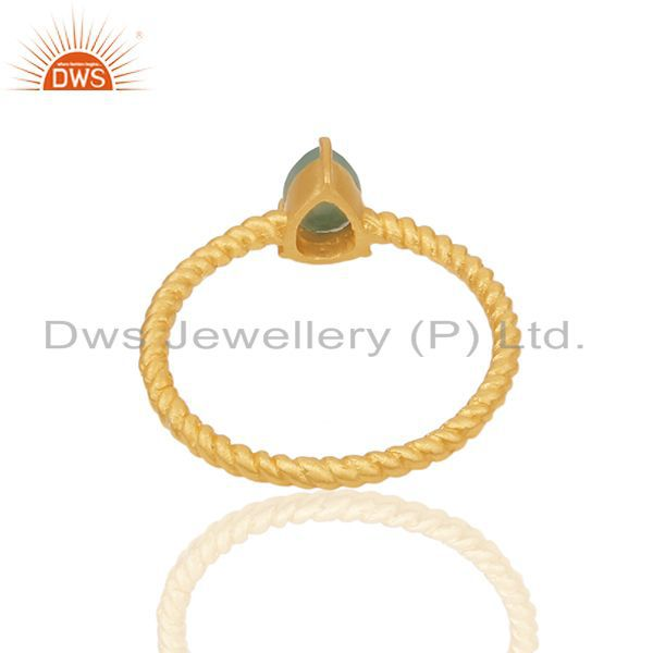 Suppliers Natural Emerald Birthstone Gold Plated Screw Design Ring Wholesale