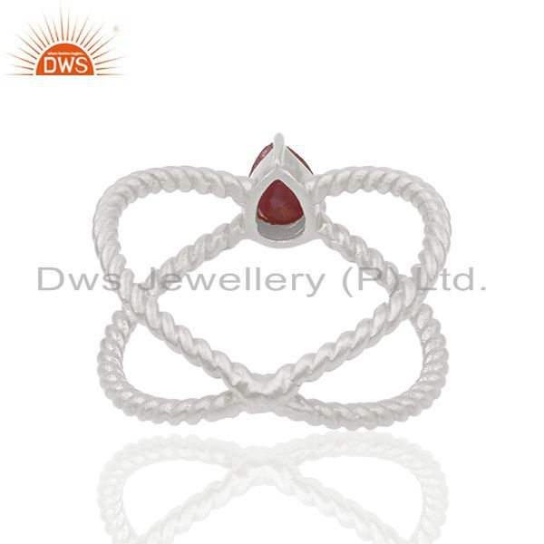Suppliers Ruby Gemstone 925 Silver Handmade Gold Plated Silver Birthstone Ring