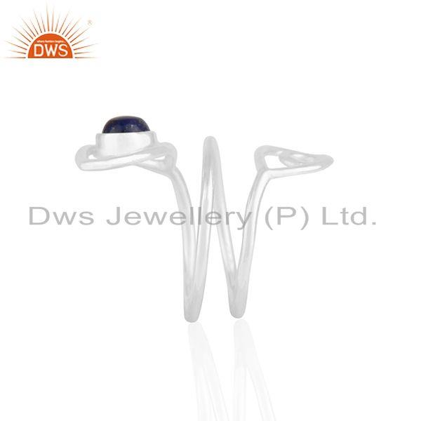 Suppliers Double Evil Eye Lapis Lazuli Gemstone Fine Silver Ring Manufacturers