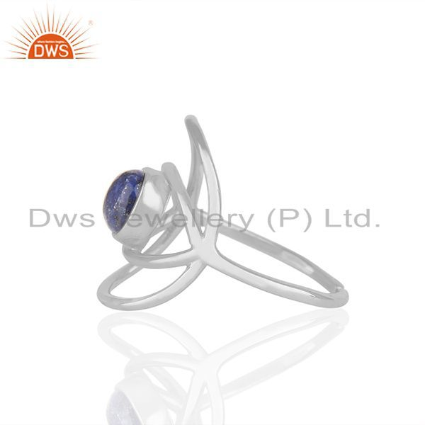 Suppliers New Stylish Eye Design 925 Silver Lapis Blue Gemstone Ring Wholesale