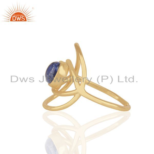 Suppliers New Designer Gold Plated 925 Silver Lapis Lazuli Gemstone Eye Ring