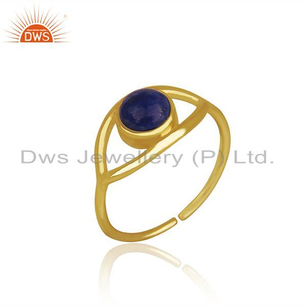 Suppliers Handmade Evil Eye Design Gold Plated 925 Silver Lapis Gemstone Ring Wholesale