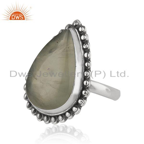 Suppliers Wholesale Oxidized Sterling Silver Prehnite Gemstone Ring Jewelry
