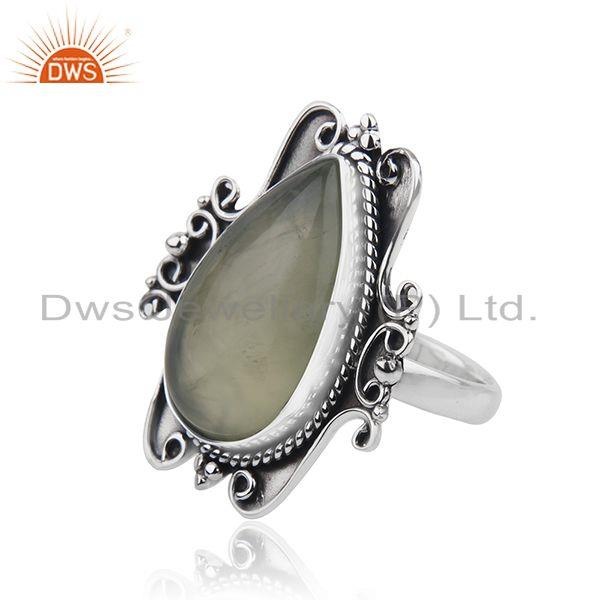 Suppliers Black Oxidized Sterling Silver Prehnite Gemstone Ring Jewelry