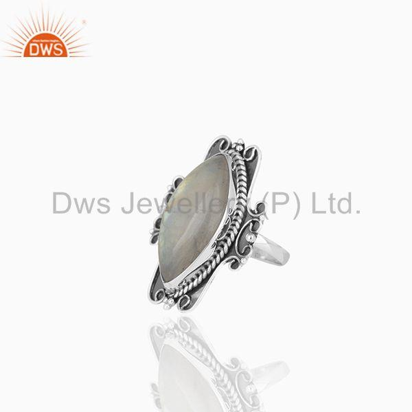 Suppliers Indian Handmade 925 Silver Oxidized Moonstone Women Ring Manufacturer