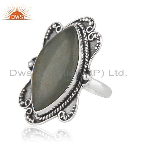 Suppliers Aquamarine Wholesale Designer Silver Oxidized Ring Jewelry