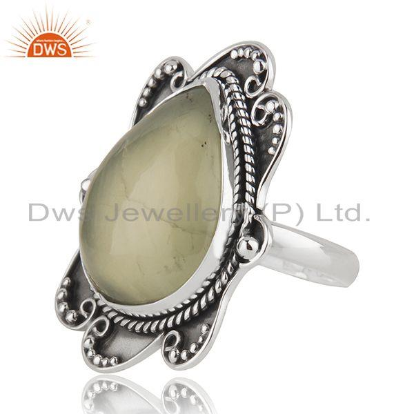 Suppliers Black Oxidized 925 Silver Prehnite Gemstone Ring Jewelry