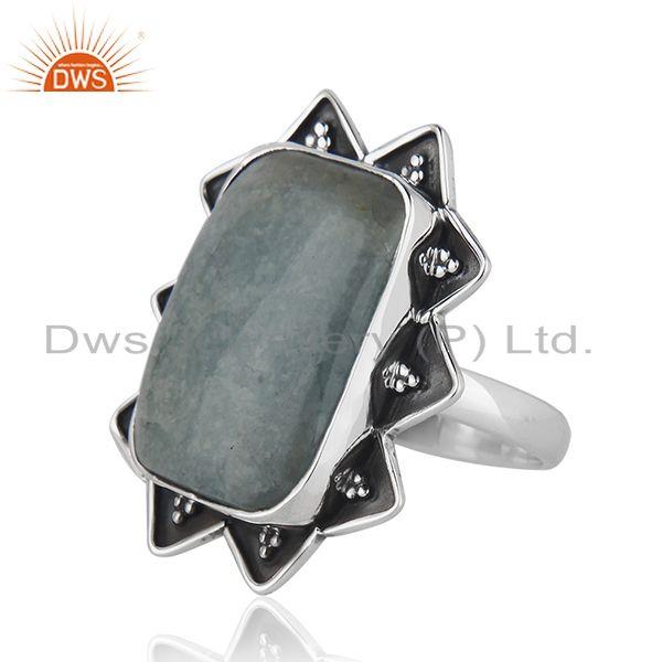 Suppliers Indian Aquamarine Gemstone Wholesale Sterling Silver Oxidized Ring Jewelry