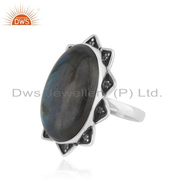 Suppliers Labradorite Gemstone 925 Silver Genuine Ring Jewelry Manufacutrer INdia