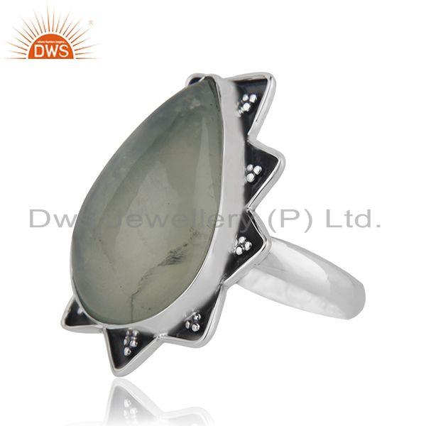 Suppliers Handmade Sterling SIlver Oxidized Prehnite Gemstone Ring Jewelry