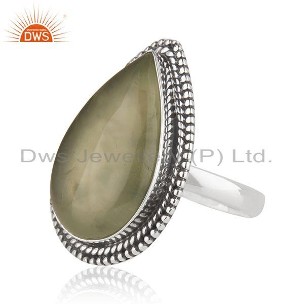 Suppliers New Oxidized Sterling SIlver Prehnite Gemstone Ring Jewelry Supplier