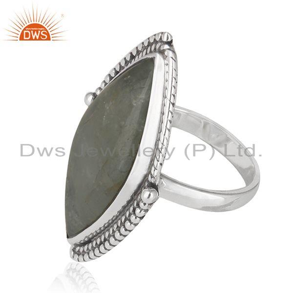 Suppliers Aquamarine Gemstone Womens Silver Oxidized Ring Jewelry Supplier