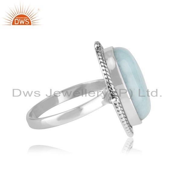 Suppliers Natural Larimar Gemstone Oxidized 925 Sterling Silver Statement Ring Manufacture
