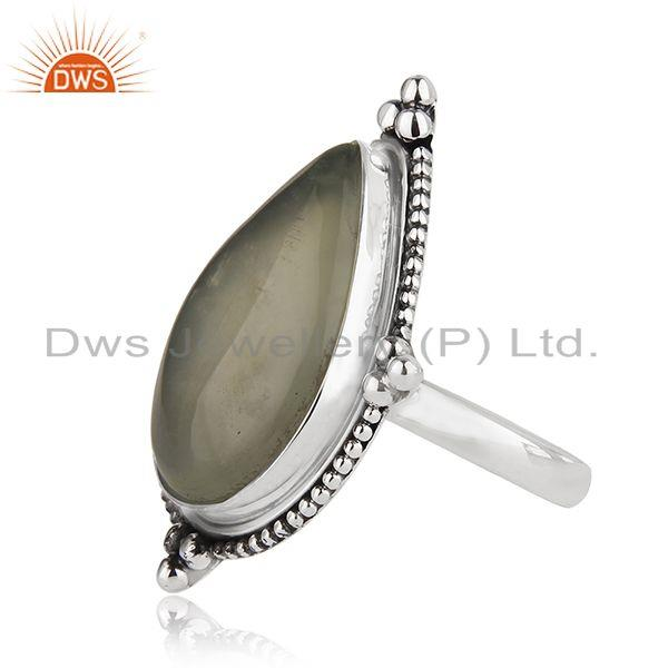 Suppliers Prehnite Gemstone Oxidized Sterling Silver Ring Manufacturer India