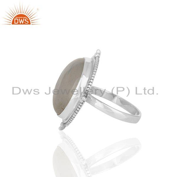 Suppliers Natural Rainbow Moonstone 925 Silver Cocktail Ring Manufacturer India