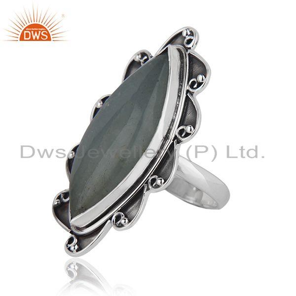Suppliers Indian Aquamarine Gemstone Oxidized Silver Ring Jewelry