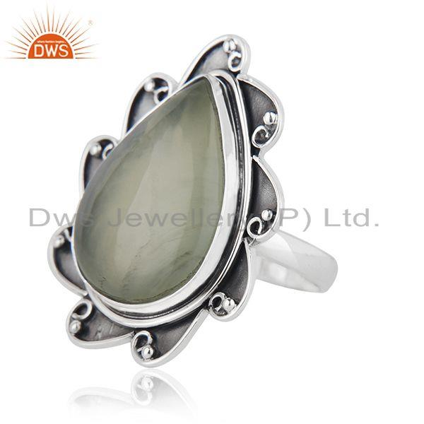 Suppliers Floral Sterling Silver Oxidized Prehnite Ring Jewelry