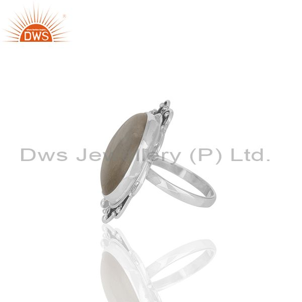 Suppliers Oxidized 925 Silver Rainbow Moonstone Cocktail Ring Manufacturer Custom Jewelry