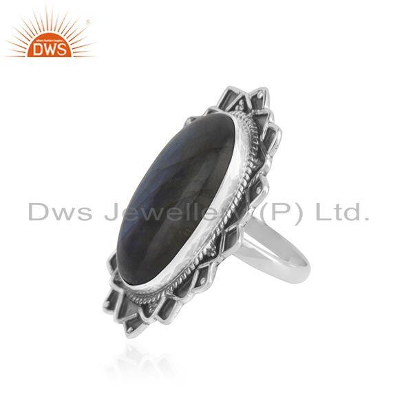 Suppliers Labradorite Gemstone Oxidized 925 Silver Statement Ring Manufacturer India