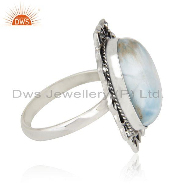 Suppliers Larimar Gemstone 925 Sterling Silver Oxidized Ring Manufacturer India