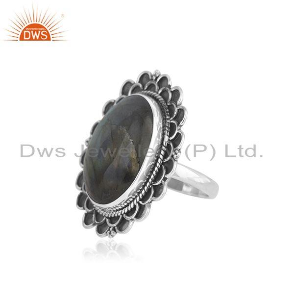 Suppliers Designer Oxidized Sterling Silver Labradorite Gemstone Cocktail Ring Wholesaler
