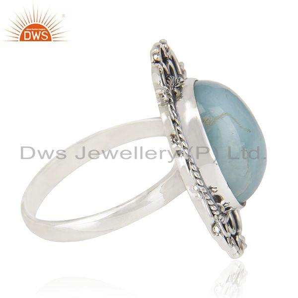 Suppliers Oxidized 92.5 Sterling Silver Larimar Gemstone Cocktail Ring Manufacturer India