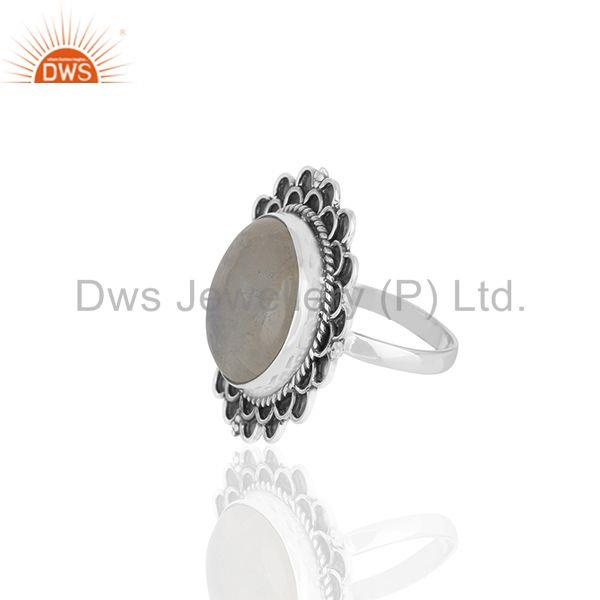 Suppliers Rainbow Moonstone Round Oxidized 925 Silver Cocktail Ring Jewellery
