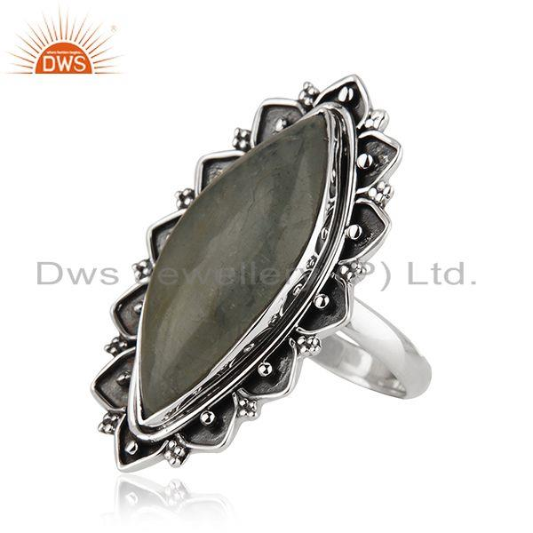 Suppliers Antique Sterling Silver Oxidized Aquamarine Gemstone Ring Jewelry