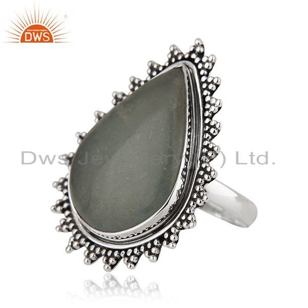 Suppliers Indian Sterling Silver Oxidized Aquamarine Gemstone Ring Jewelry