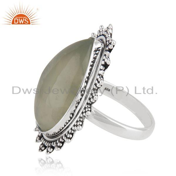 Suppliers Natural Prehnite Gemstone Silver Oxidized Ring Jewelry