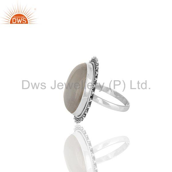 Suppliers Handmade Oxidized 925 Silver Rainbow Moonstone Cocktail Custom Ring Manufacturer