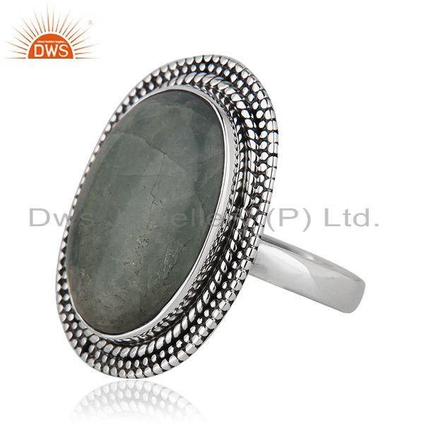 Suppliers Natural Aquamarine Gemstone Sterling Silver Oxidized Ring Jewelry