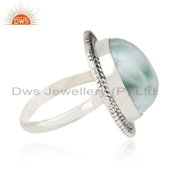 Suppliers Larimar Gemstone 925 Sterling Silver Cocktail Ring Manufacturer Jaipur