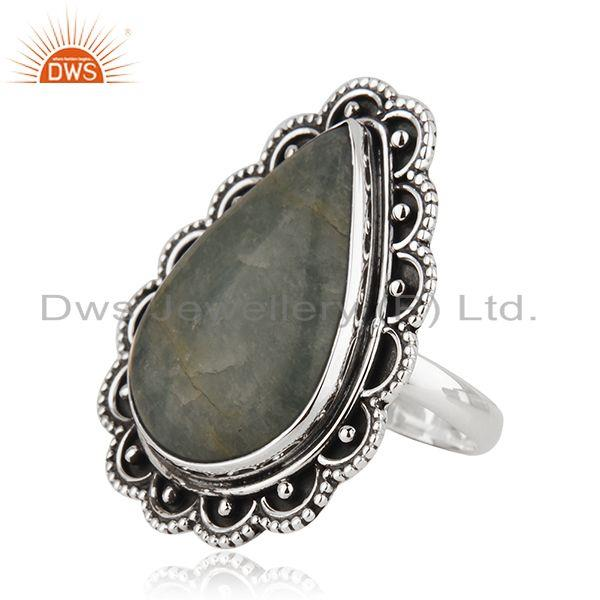 Suppliers Aquamarine Gemstone Sterling Silver Oxidized Ring Jewelry