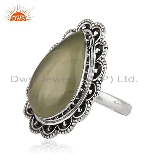 Suppliers Wholesale Prehnite Gemstone Oxidized Silver Ring Jewelry