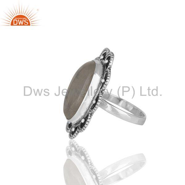 Suppliers Handmade Floral Design Sterling 92.5 Silver Rainbow Moonstone Ring Jewellery