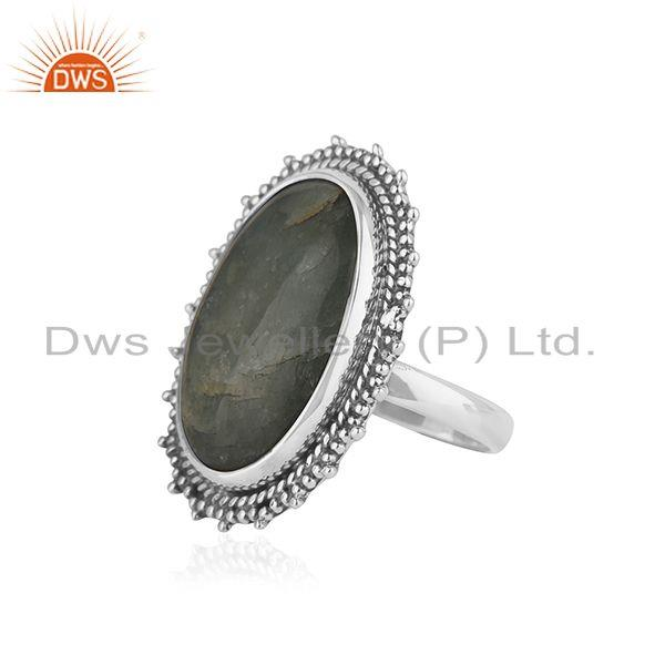 Suppliers Indian sterling Silver Oxidized Aquamarine Stone Ring Jewelry
