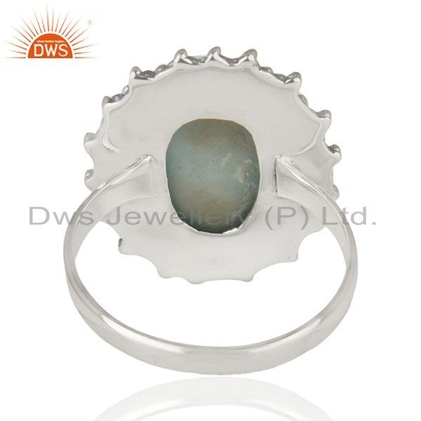 Suppliers Larimar Gemstone 925 Sterling Silver Statement Ring Manufacturer Jaipur India