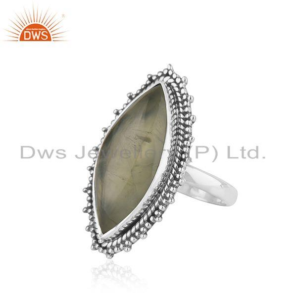 Suppliers 925 Silver Oxidized Prehnite Gemstone Ring Designer Jewelry