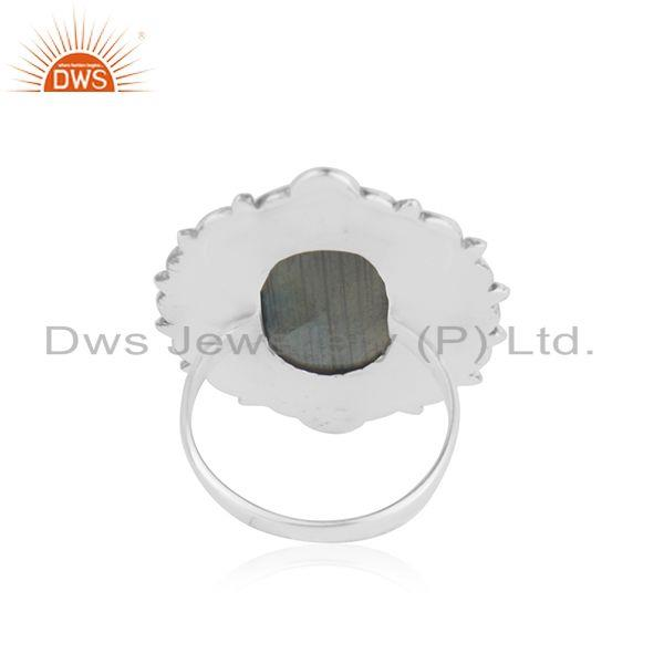 Suppliers Handcrafted 925 Silver Antique Look Labradorite Gemstone Ring Manufacturer India