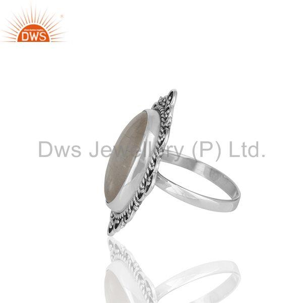 Suppliers Wholesale 925 Silver Oxidized Rainbow Moonstone Girls Ring Jewelry Manufacturer