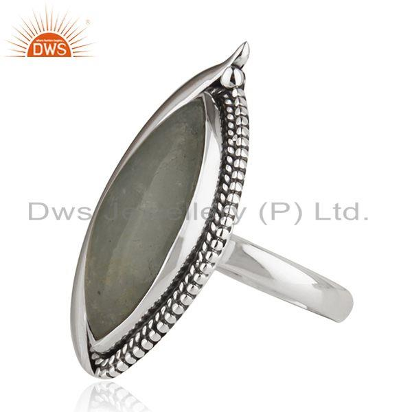 Suppliers New Oxidized Plated Silver Aquamarine Gemstone Ring Jewelry