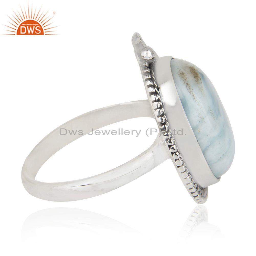 Suppliers Larimar Gemstone 92.5 Sterling Silver Cocktail Ring Jewelry Wholesale