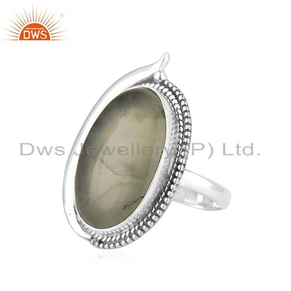 Suppliers Prehnite 925 Sterling Silver Oxidized Ring Jewelry Supplier