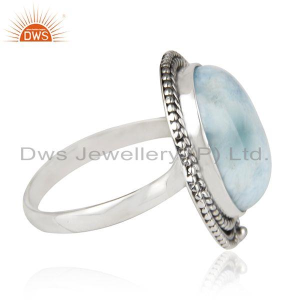 Suppliers Larimar Gemstone Oxidized 925 Sterling Silver Statement Ring Suppliers Jaipur
