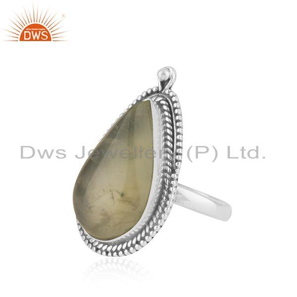 Suppliers Natural Prehnite Gemstone Oxidized Silver Ring Jewelry