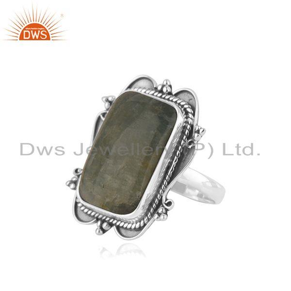 Suppliers Aquamarine 925 Sterling Silver Oxidized Ring Jewelry Supplier