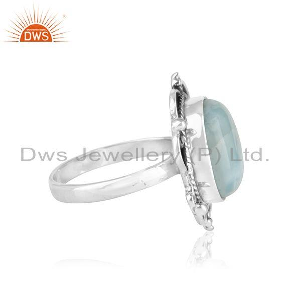 Suppliers Natural Larimar Gemstone Oxidized Sterling Silver Designer Ring Suppliers Jaipur