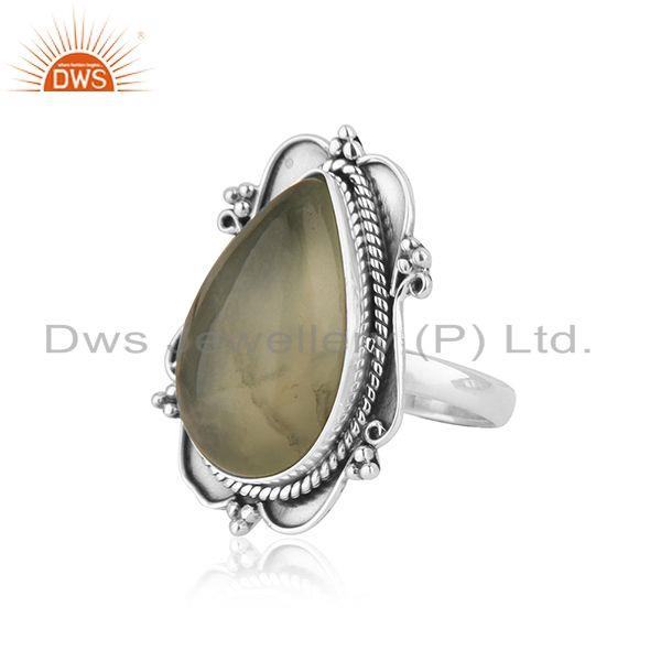 Suppliers New Arrival Prehnite Gemstone Oxidized Silver Ring Jewelry