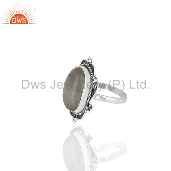 Suppliers Rainbow Moonstone Oxidized Sterling 92.5 Silver Ring Manufacturer from India